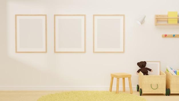 3d-рендеринг дизайн интерьера белой детской комнаты с макетной рамкой на стуле и игрушками в коробках