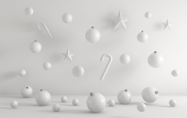 3d rendering of white christmas ornaments on a white background