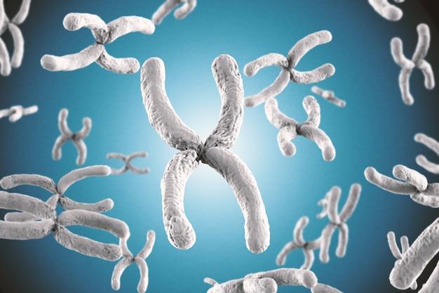 파란색 배경에 3d 렌더링 흰색 염색체