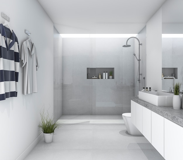 3d rendering white clean modern bathroom with bright daylight