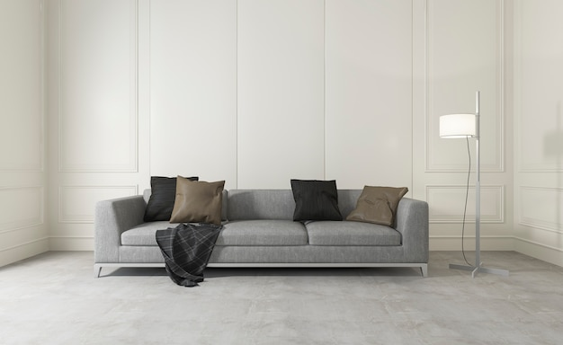 3d rendering white clean room with comfortable sofa