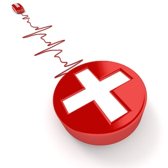 3d rendering of a white cross on red connected to a computer mouse with the cable shaped like a heartbeat graphic