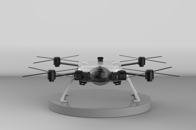 3d rendering white drone with propellers