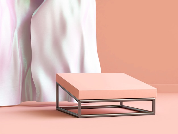 3d rendering white fabric cream-orange scene blank podium