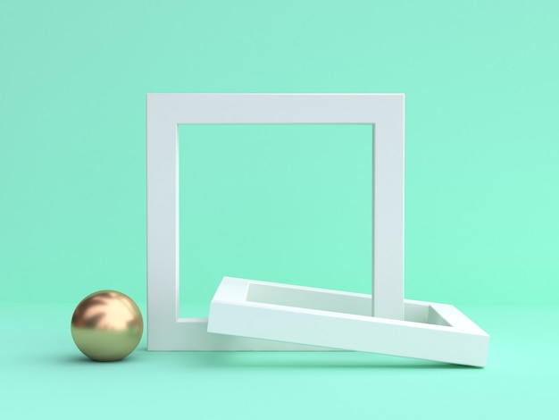 3d rendering of white frames and golden sphere