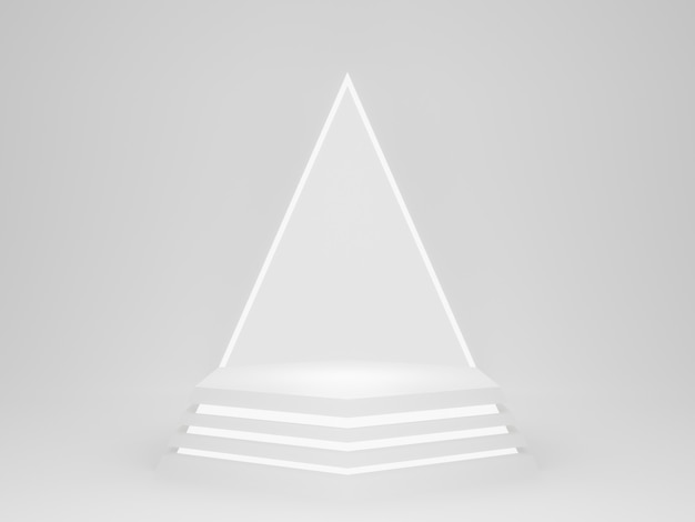 3d rendering. white geometric podium with neon lights.