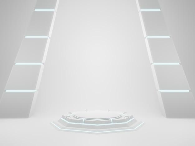 3d 렌더링 흰색 기하학적 sci fi 제품 스탠드