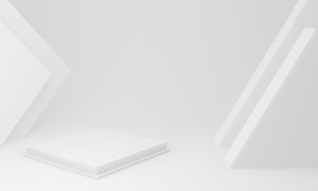 3dレンダリング。白い幾何学的なステージ。