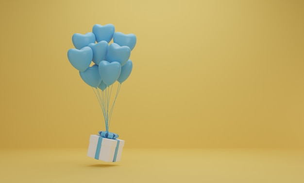 3d rendering. white gift box with blue ribbon and balloon heart on yellow background. minimal concept.