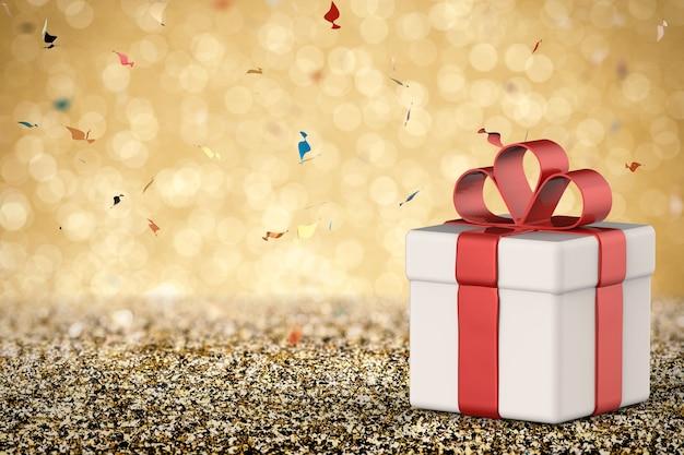 3d-рендеринг белой подарочной коробки с красным бантом из ленты с пустым пространством