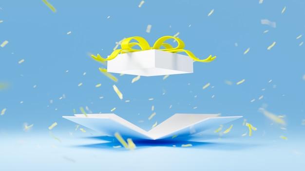 黄色いリボンと3 dレンダリングの白いギフトボックスが青に爆発します。