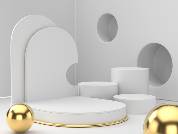 3d rendering of white gold pedestal podium on clearly background, abstract  minimal podium blank space for beauty cosmetic product,
