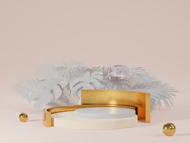 3d rendering of white and gold podium with monstera leaves
