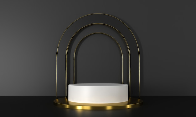3d rendering white and gold podium.