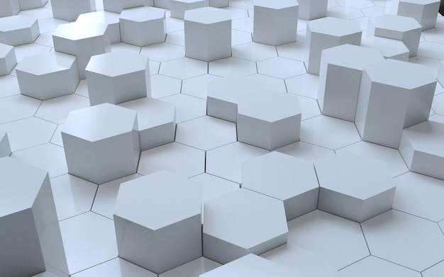 3d rendering white hexagon abstract background