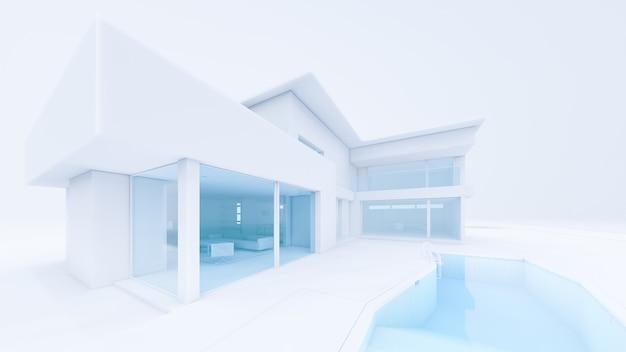 スイミングプールのイラストと3dレンダリングホワイトハウス