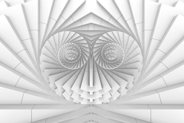 3d rendering. white illusion twirl swirl art in heart shape wall background.