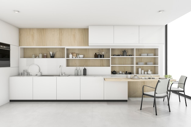 3d rendering white kitchen with minimal style decor