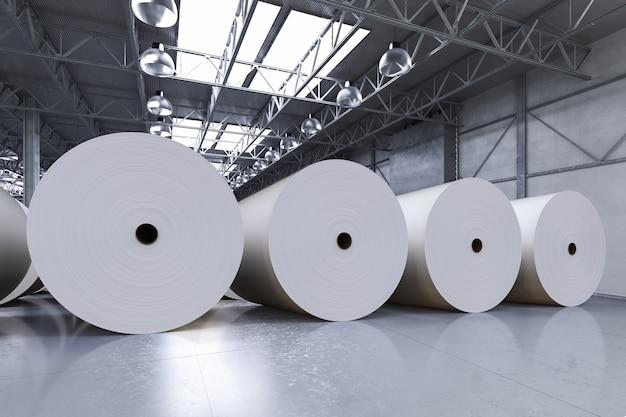 3d-рендеринг больших белых рулонов бумаги на заводе