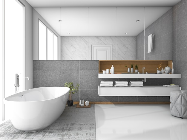 3d rendering white luxury bathroom