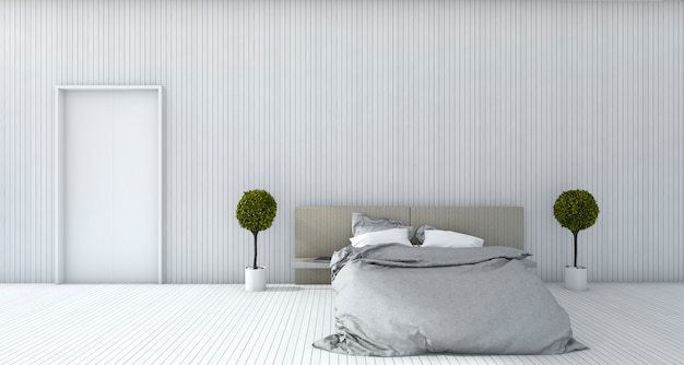 3d rendering white minimal bedroom with plant