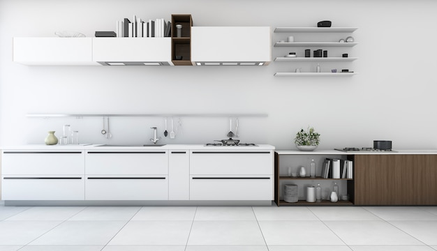 3d rendering white minimal kitchen with wood shelf