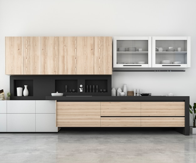 3d rendering white minimal mock up kitchen with wood decoration