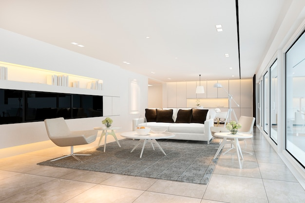 3d rendering white modern living room near kitchen and outdoor terrace