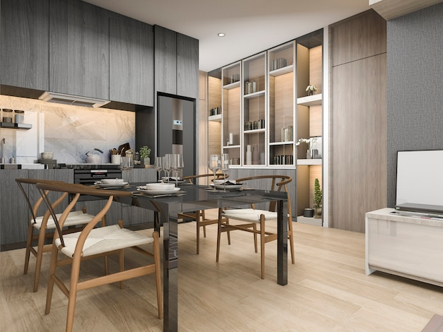 3d rendering white modern and luxury kitchen with dining table and shelf