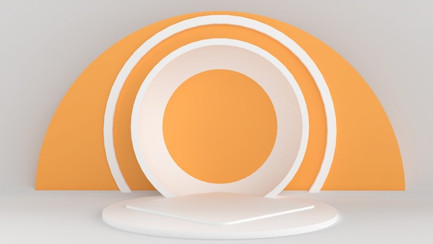 3d rendering of white and orange color with minimal and abstract background. stage show with shape and geometry.