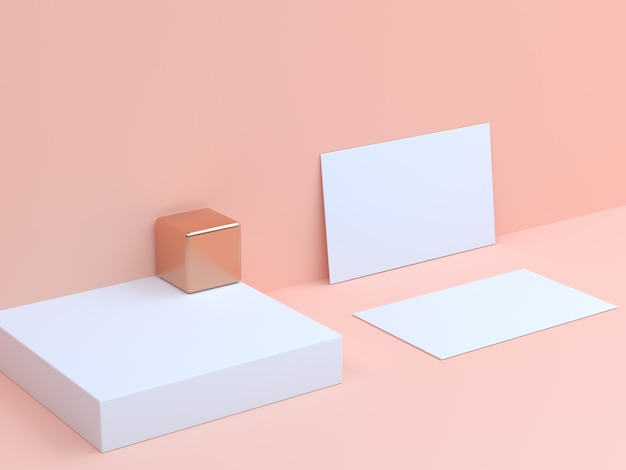 3d rendering white paper card set cream background