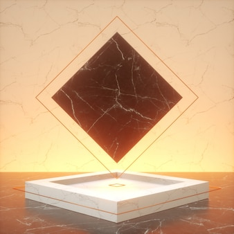 3d rendering of white pedestal steps isolated on black rhombus marble background and 3d podium