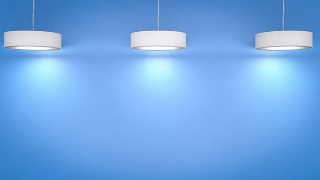 天井にぶら下がっている3dレンダリングの白いペンダントランプ