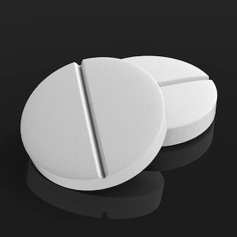 黒の背景に白い錠剤を3dレンダリング