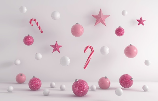 Rendering 3d di ornamenti natalizi bianchi e rosa appesi su uno sfondo bianco