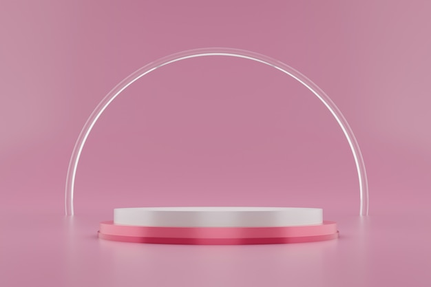 3d rendering of white and pink podium