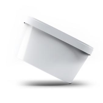 3d-рендеринг белая пластиковая коробка контейнера для мороженого для вашего дизайна и логотипа mock up. подходит для вашего элемента дизайна.