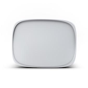 3d 렌더링 디자인 및 로고 모의 최대 아이스크림 컨테이너의 흰색 플라스틱 상자. 디자인 요소에 적합합니다.