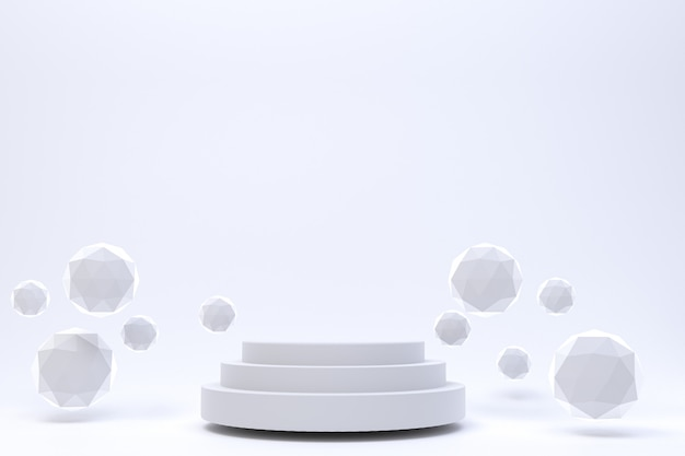 3 dレンダリング、化粧品プレゼンテーション、抽象的な幾何学的形状の白い表彰台最小限の抽象的な白い背景