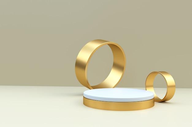 ライトベージュの背景に金の指輪と白い表彰台をレンダリングする3d
