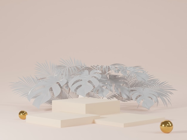 3d rendering of white podiums with monstera leaves