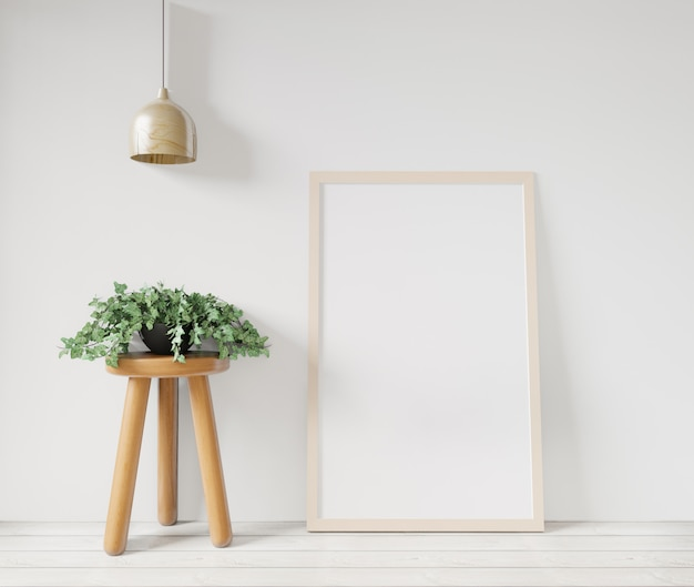 3d rendering white poster frame mockupon the white wall,table,basket and plant on the wooden floor ,raw concrete wall
