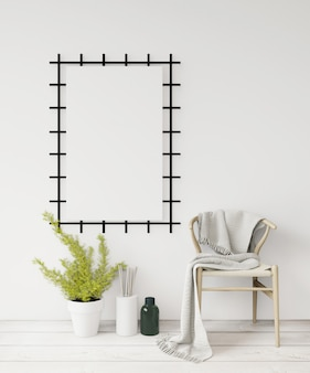 3d rendering white poster frame  on the white wall ,wooden chair and floor,plant