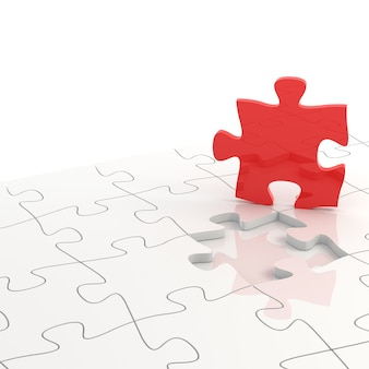 3d rendering of white puzzle pieces with one red piece lifted up