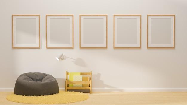 3d-рендеринг белого уголка для чтения, дизайн интерьера с рамками для макетов на стене, серый пуф, ковер и книжная полка
