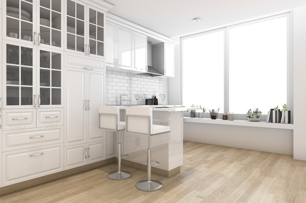 3d rendering white scandinavian style kitchen and dining room