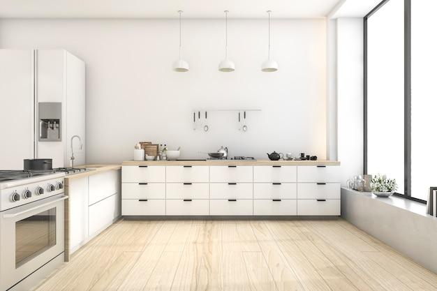 램프와 3d 렌더링 흰색 스칸디나비아 스타일의 부엌 프리미엄 사진