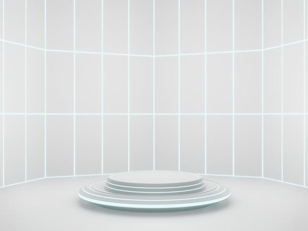 3d 렌더링 화이트 sci fi 제품 스탠드