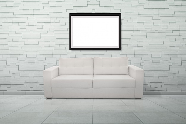 3d rendering of a white sofa in a bright room