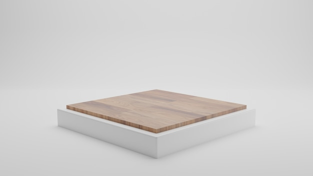 3d rendering of white square with wood on top podium